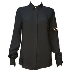 VERSUS VERSACE BLACK LONG SLEEVE SHIRT with GOLD-TONE LION PINS 38 - 2