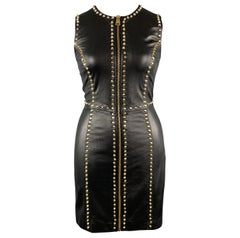 VERSUS VERSACE Size 8 Black Leather Gold Studded Sleeveless Sheath Dress
