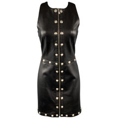 VERSUS VERSACE Size 8 Black Leather Silver Lion Head Studded Sheath Dress