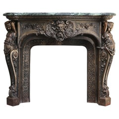 Vert De Gréce Marble + Cast Iron Bronze Patina Mantle from Mid 19th Century
