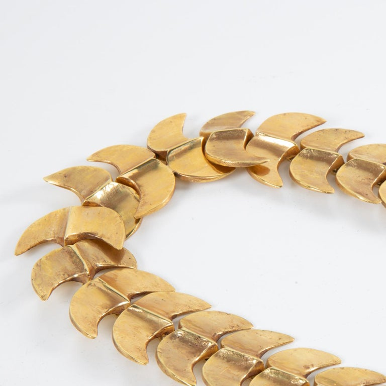 Mid-Century Modern Vertebrae, Gilded Bronze Necklace, Line Vautrin 'France' For Sale