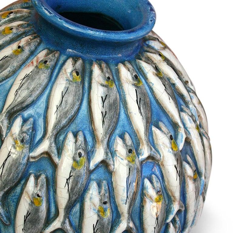 Italian Vertical Fish Vase by Ceccarelli For Sale