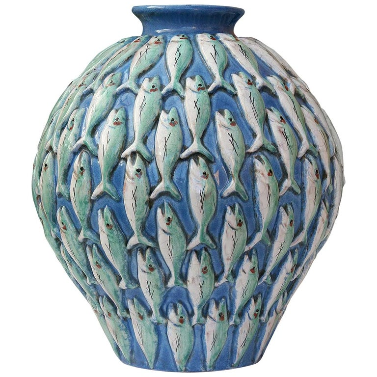 Vertical Fish Vase by Ceccarelli For Sale