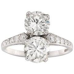 Vertical Two Stones Round Brilliant-Cut Diamond Ring