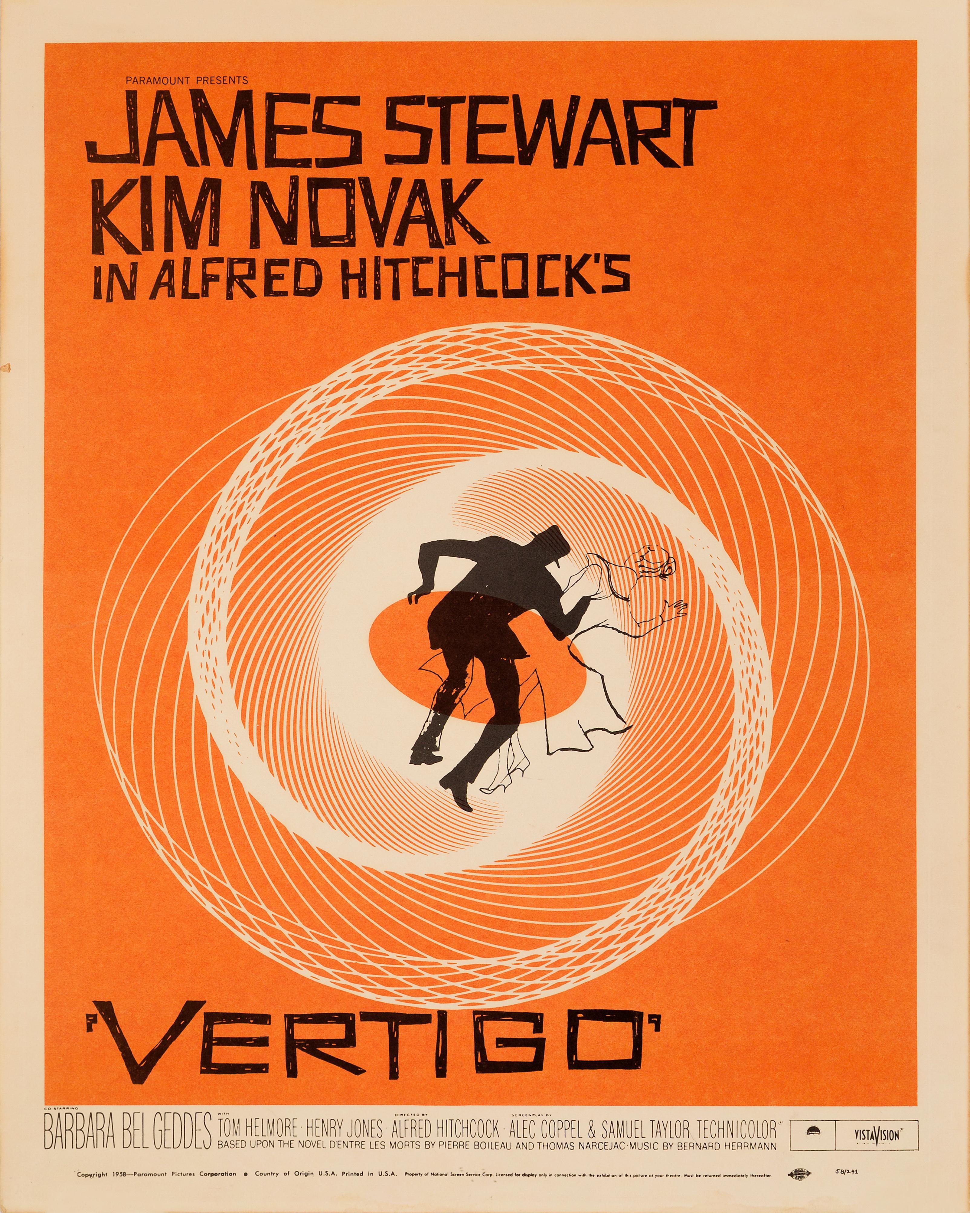Vertigo' Original Vintage US Window Card Movie Poster, 1958 at 1stDibs