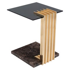 Vertigo Side Table in Polished Brass, Smoked Glass and Emperador Dark Marble