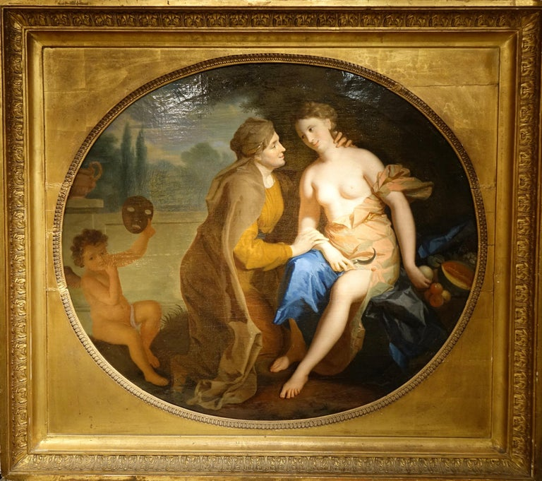 Louis XIV Vertumnus and Pomona , Oil on Canvas Attributed to F.A. Verdier  For Sale