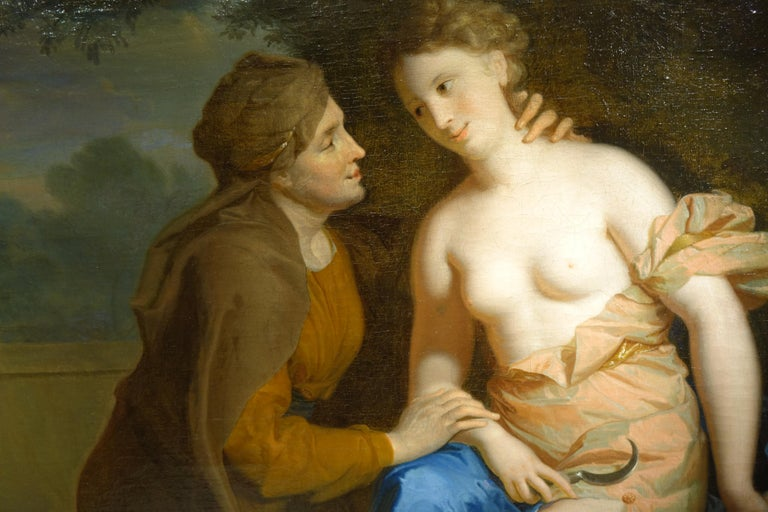 French Vertumnus and Pomona , Oil on Canvas Attributed to F.A. Verdier  For Sale