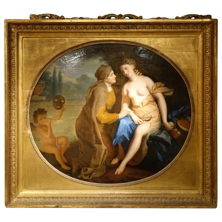 Vertumnus and Pomona , Oil on Canvas Attributed to F.A. Verdier  For Sale