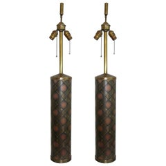 Very Attractive Vintage Pair of Copper and Brass Lamps