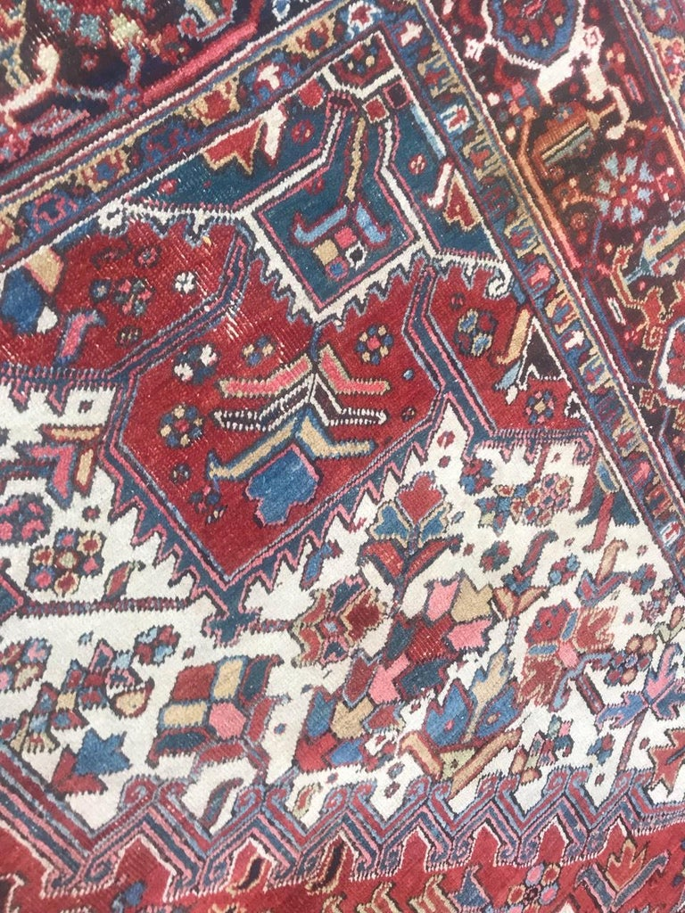 Hand-Knotted Very Beautiful Antique Heriz Rug For Sale