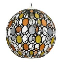 Very Beautiful Rare Original 1960s Glashütte Limburg Glass Ball Pendant Lamp