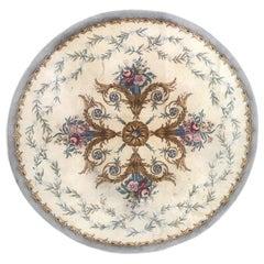 Very Beautiful Vintage Fine Savonnerie European Round Rug