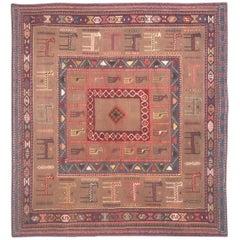 Very Beautiful Vintage Tribal Soumak Shahsavand Kilim