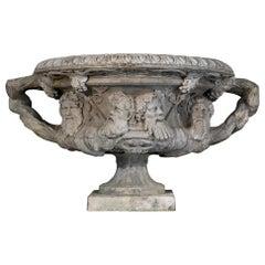 Very Big 19th Century Zinc Warwick Vase, England, Bacchic Ornaments