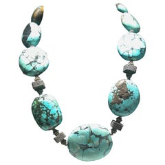 Very Bold Chunky Turquoise Necklace.  Iris Apfel Style