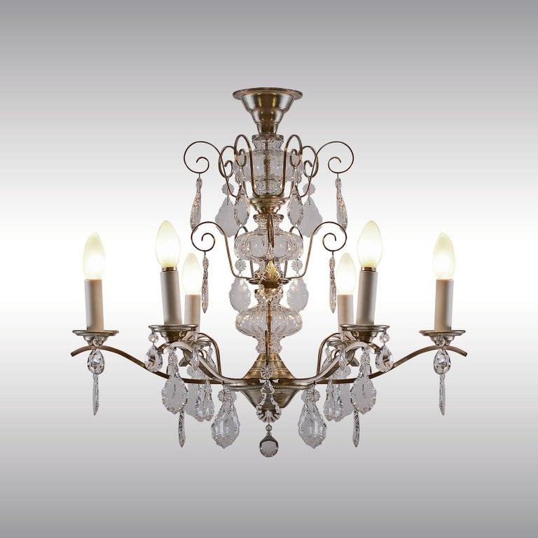 Mid-20th Century Very Charming and Elegant 1950s Mid Century Modern Crystal Chandelier -Original For Sale
