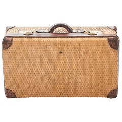 Very Charming Travel Suitcase in Woven Cane