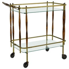 Very Chic Brass and Walnut Midcentury Two-Tier Bar Cart.  Nice old patina.
