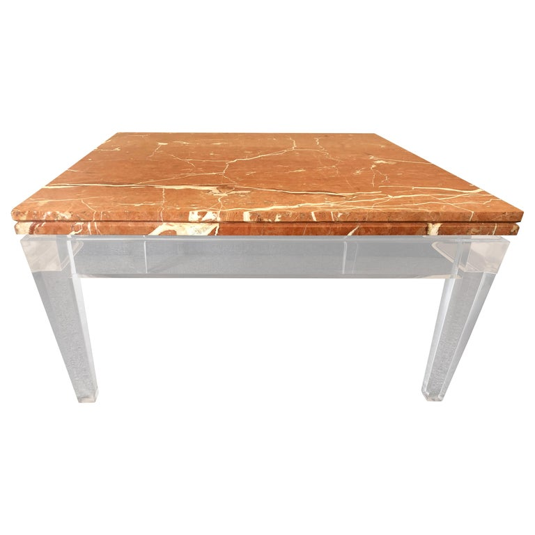 Very Chic Mid-Century Modern Lucite and Marble Coffee Table For Sale