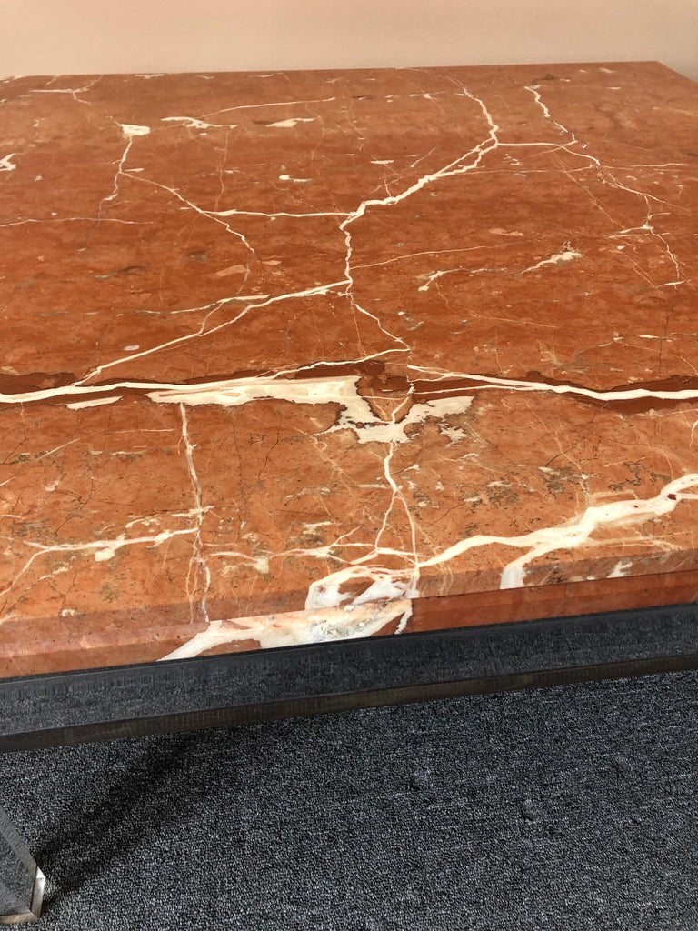 Very Chic Mid-Century Modern Lucite and Marble Coffee Table For Sale 4