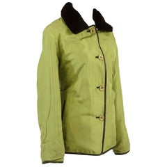Very Chic Reversible Green Nylon, Black Leather and Sheared Rabbit Coat
