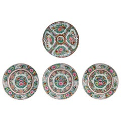 Very Colourful Set of Asian Porcelain Hand Painted Plates with Intricate Designs