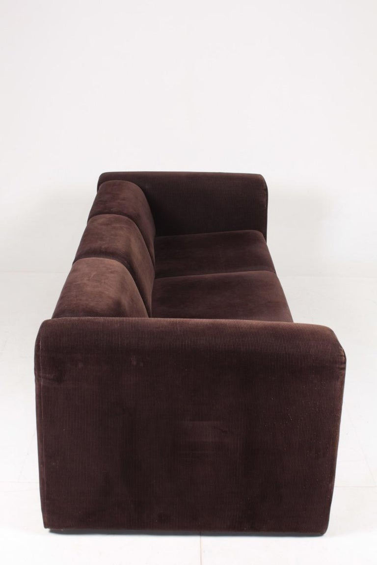 Fabric Very Comfortable Midcentury Sofa in Corduroy, 1970s For Sale