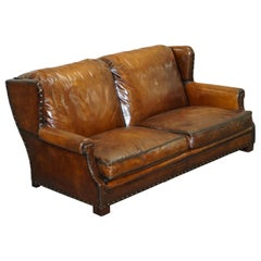 Very Comfortable Ralph Lauren Brown Leather Sofa Feather Cushions