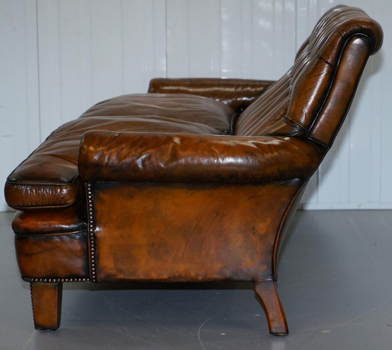 Very Comfortable Victorian Restored Howard & Son's Style Aged Brown Leather Sofa For Sale 13