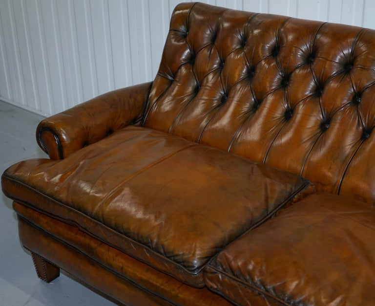 British Very Comfortable Victorian Restored Howard & Son's Style Aged Brown Leather Sofa For Sale