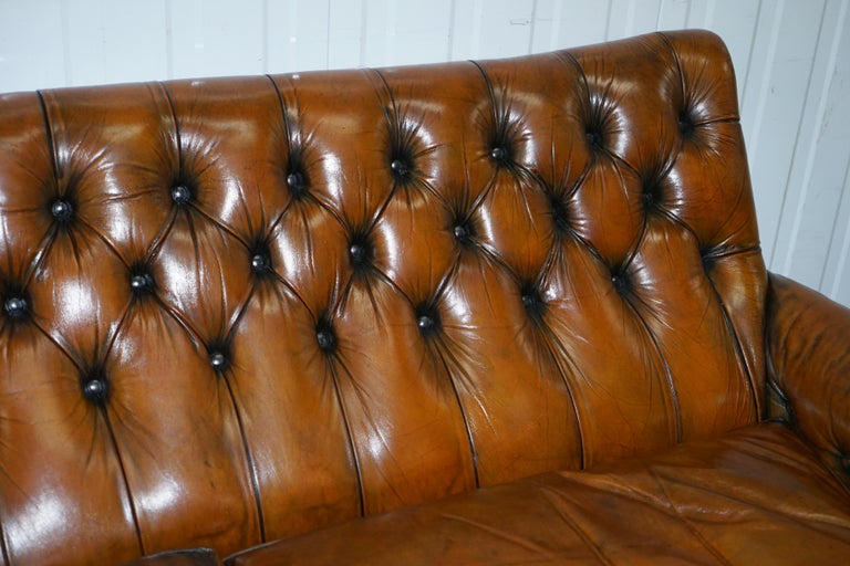 19th Century Very Comfortable Victorian Restored Howard & Son's Style Aged Brown Leather Sofa For Sale