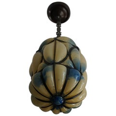 Very Cool and Pretty, Mouth Blown Venetian Murano Glass in Metal Frame Pendant