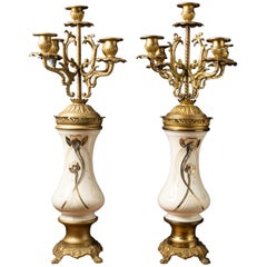 Very Decorative Pair of White Ceramics and Copper Alloy Candleholders