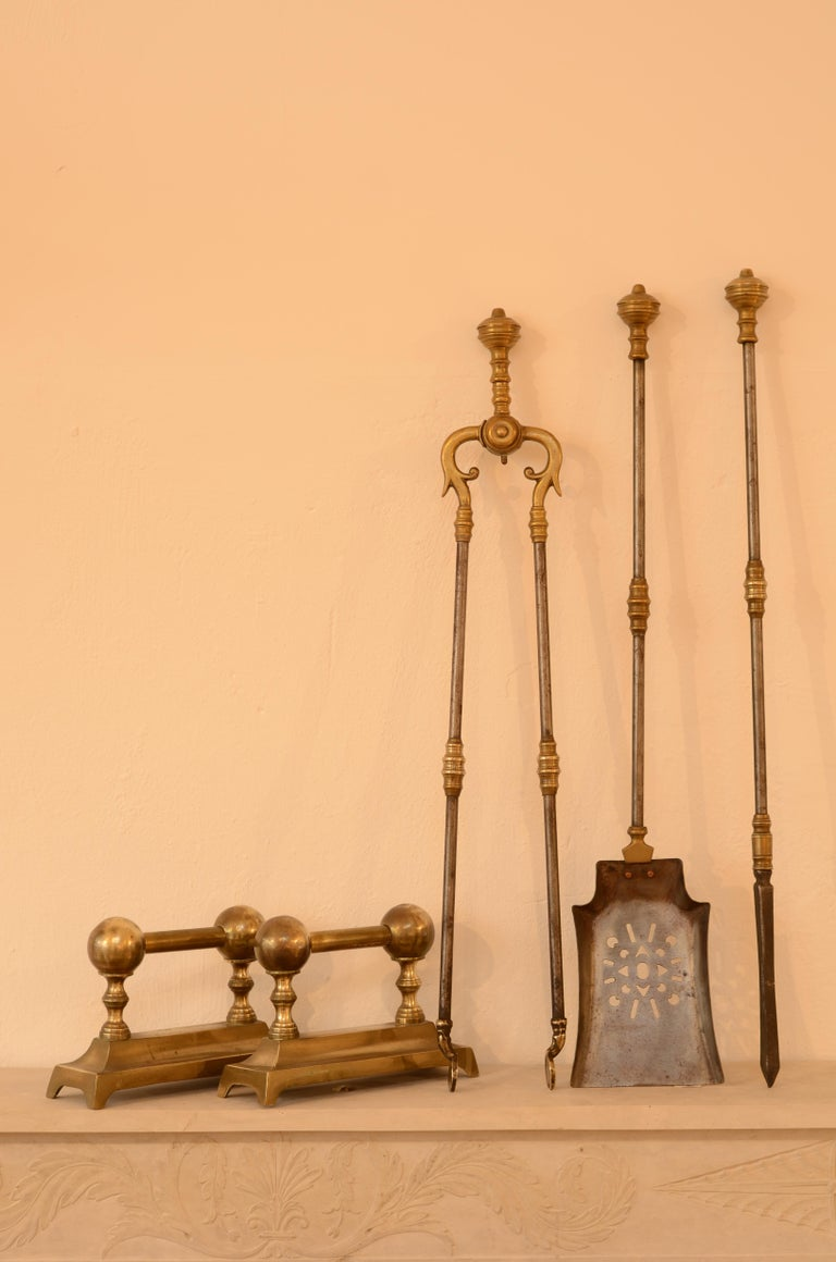 19th Century Very Decorative Set of Fire Tools, Shovel Poke and Tongs For Sale