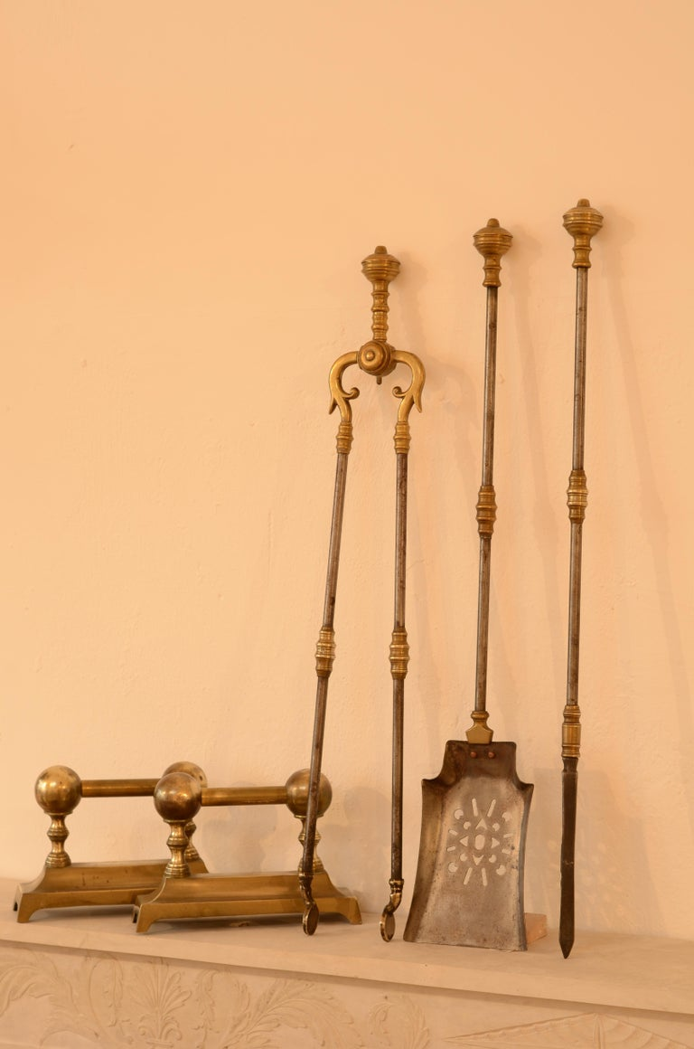 Brass Very Decorative Set of Fire Tools, Shovel Poke and Tongs For Sale
