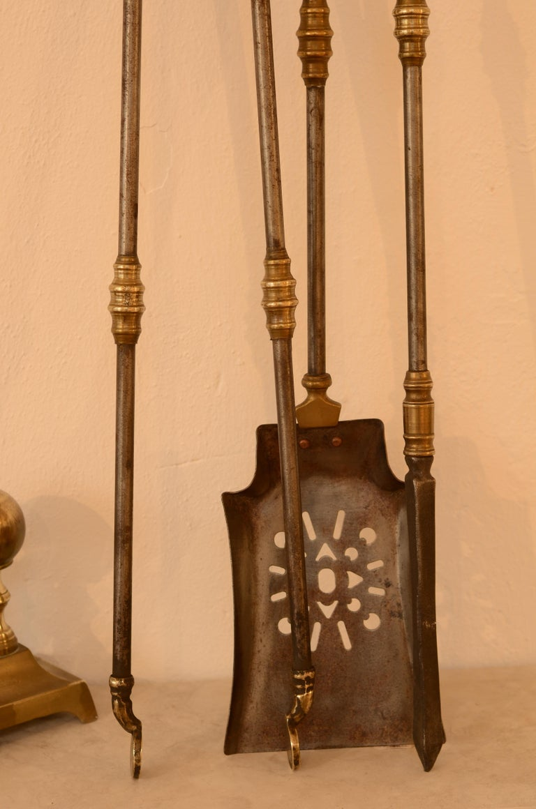 Very Decorative Set of Fire Tools, Shovel Poke and Tongs For Sale 2