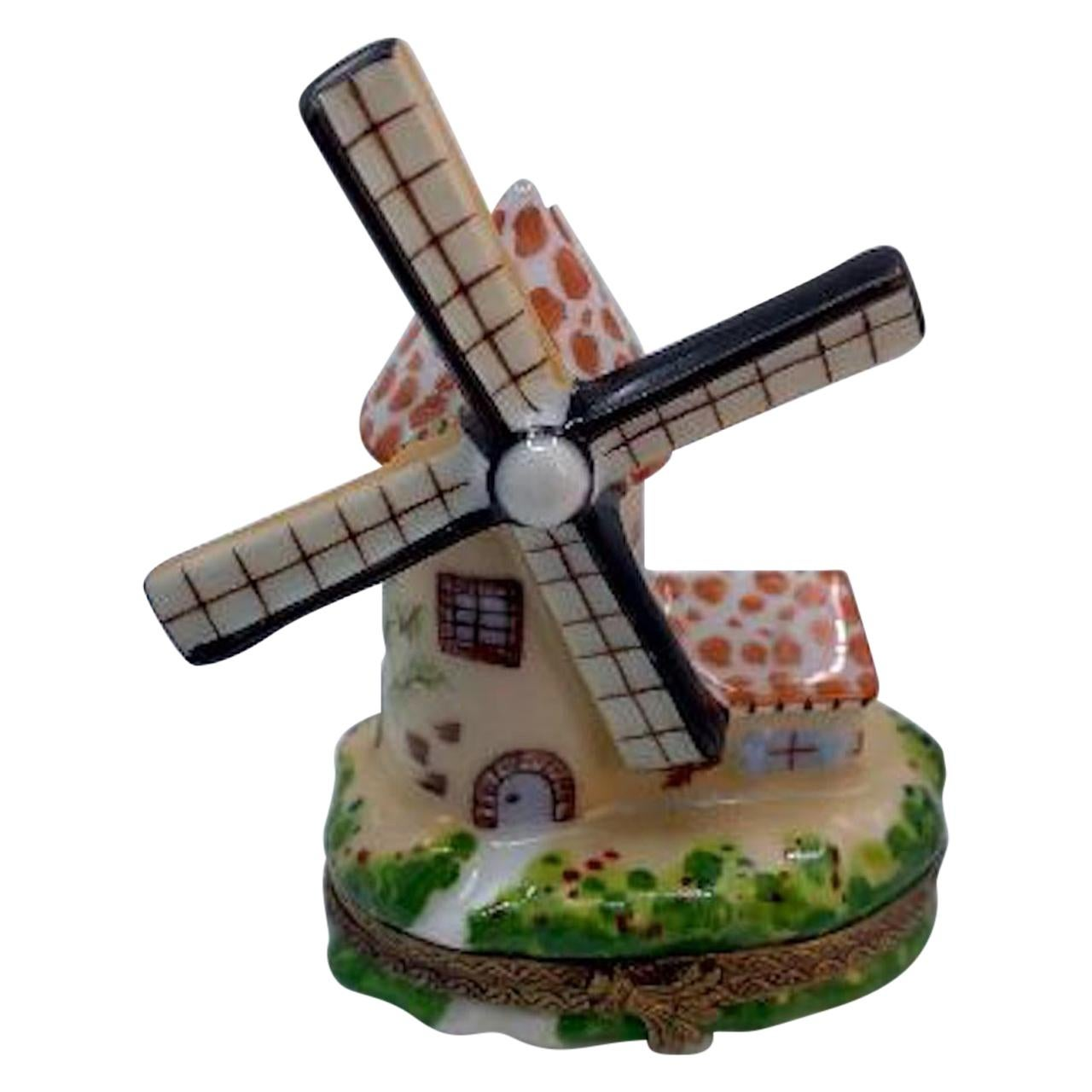 Very Detailed Limoges France Hand Painted Dutch Windmill Porcelain Trinket Box