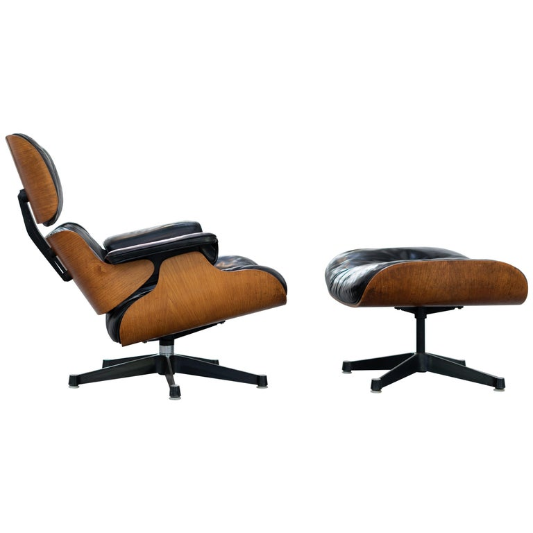 Very Early Charles & Ray Eames Lounge Chair and Ottoman from Contura, 1957-1965 For Sale
