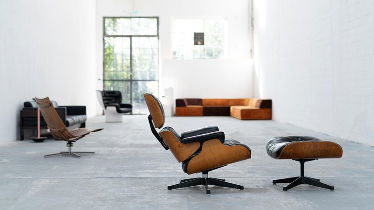 Very Early Charles & Ray Eames Lounge Chair and Ottoman from Contura, 1957-1965 For Sale 6
