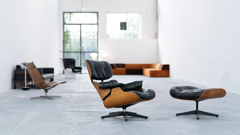 Very Early Charles & Ray Eames Lounge Chair and Ottoman from Contura, 1957-1965 For Sale 7