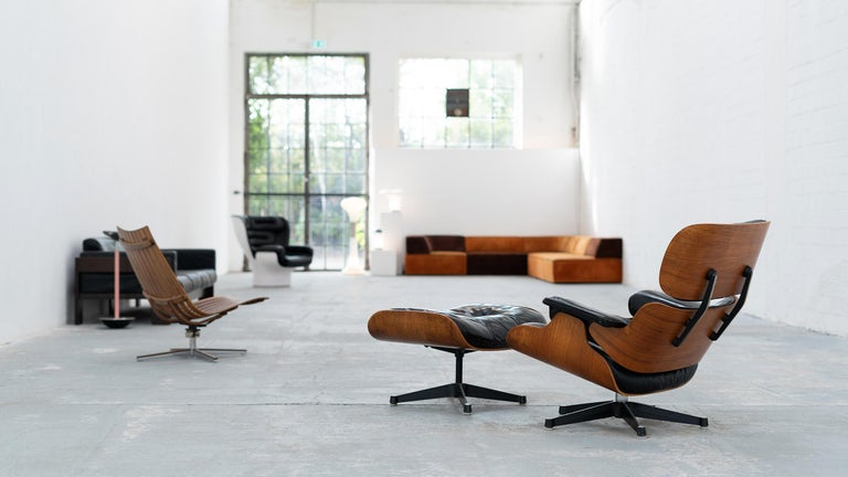 Very Early Charles & Ray Eames Lounge Chair and Ottoman from Contura, 1957-1965 For Sale 9