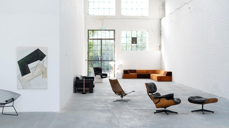 Very Early Charles & Ray Eames Lounge Chair and Ottoman from Contura, 1957-1965 For Sale 12