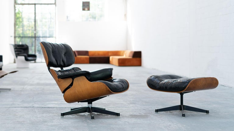 Very Early Charles & Ray Eames Lounge Chair and Ottoman from Contura, 1957-1965 For Sale 1