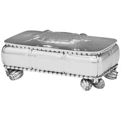 Very Early Georg Jensen 830 Silver Box with Feet, Design 133 by Georg Jensen