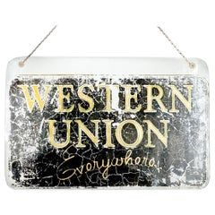 Very Early Glass Western Union Window Sign
