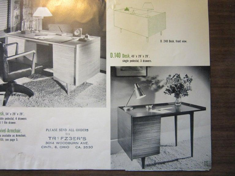 Very Early Jens Risom Walnut Mid Century Desk Model D-140 For Sale 7