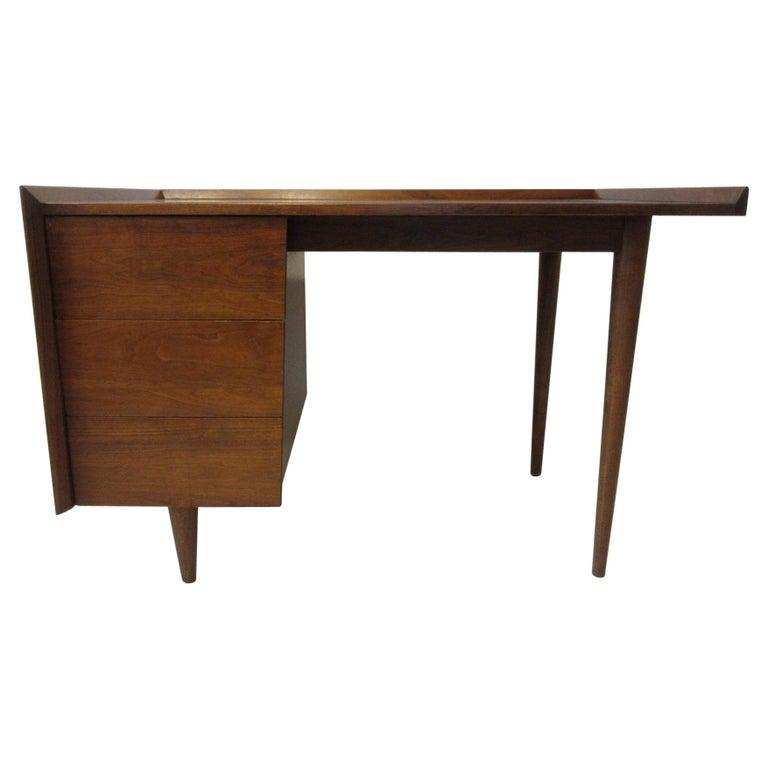 Very Early Jens Risom Walnut Mid Century Desk Model D-140 For Sale