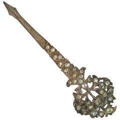 Very Early Kondakoora Metal and Rose Cut Rock Crystal Brooch