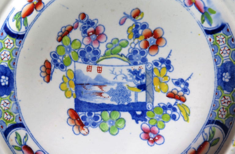 Very Early Mason's Ironstone Deep Plate Scroll Landscape and Prunus Rare Pattern For Sale 5